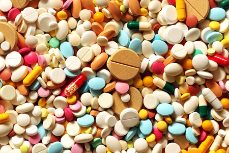 Pile of colourful pills