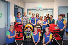 The staff from the Children's Ward with Steven Radich, Brendan and Jonty Clare