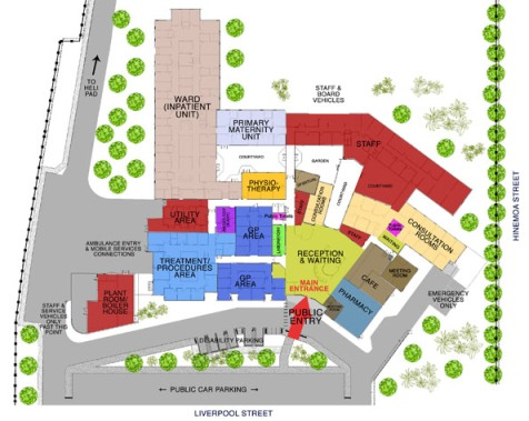 Horowhenua Health Centre building and car parking map